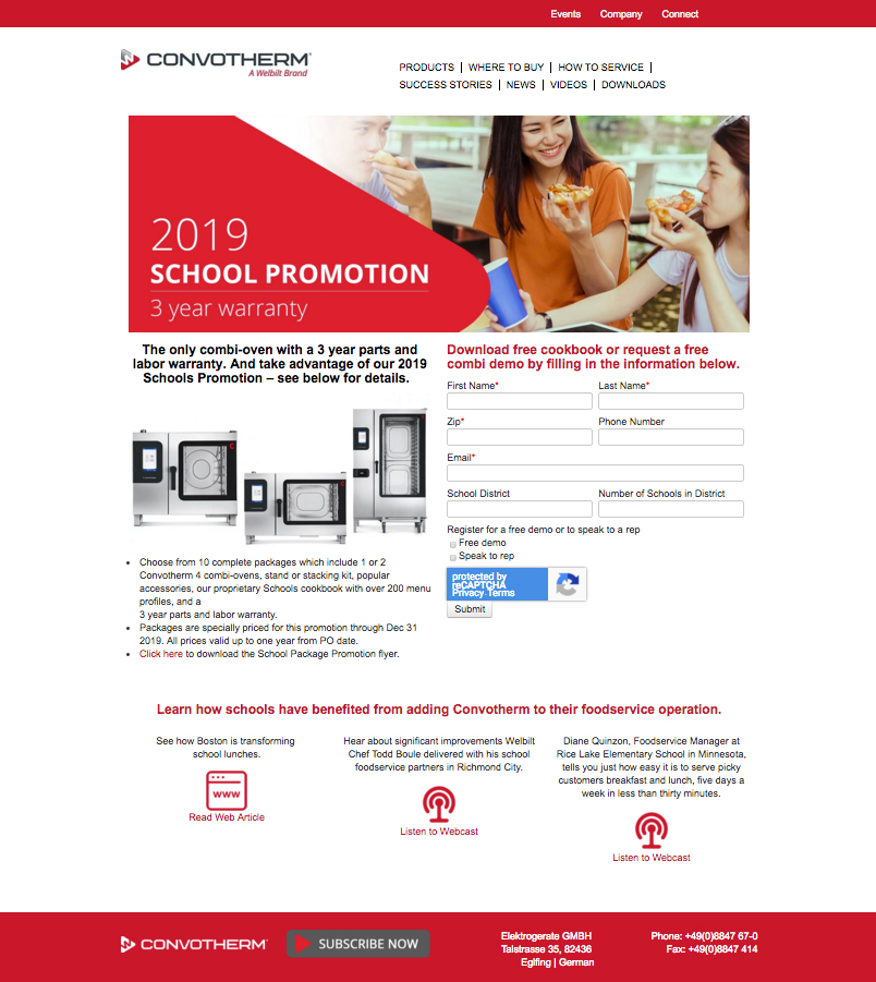 Convotherm 4 School Promotion Landing Page