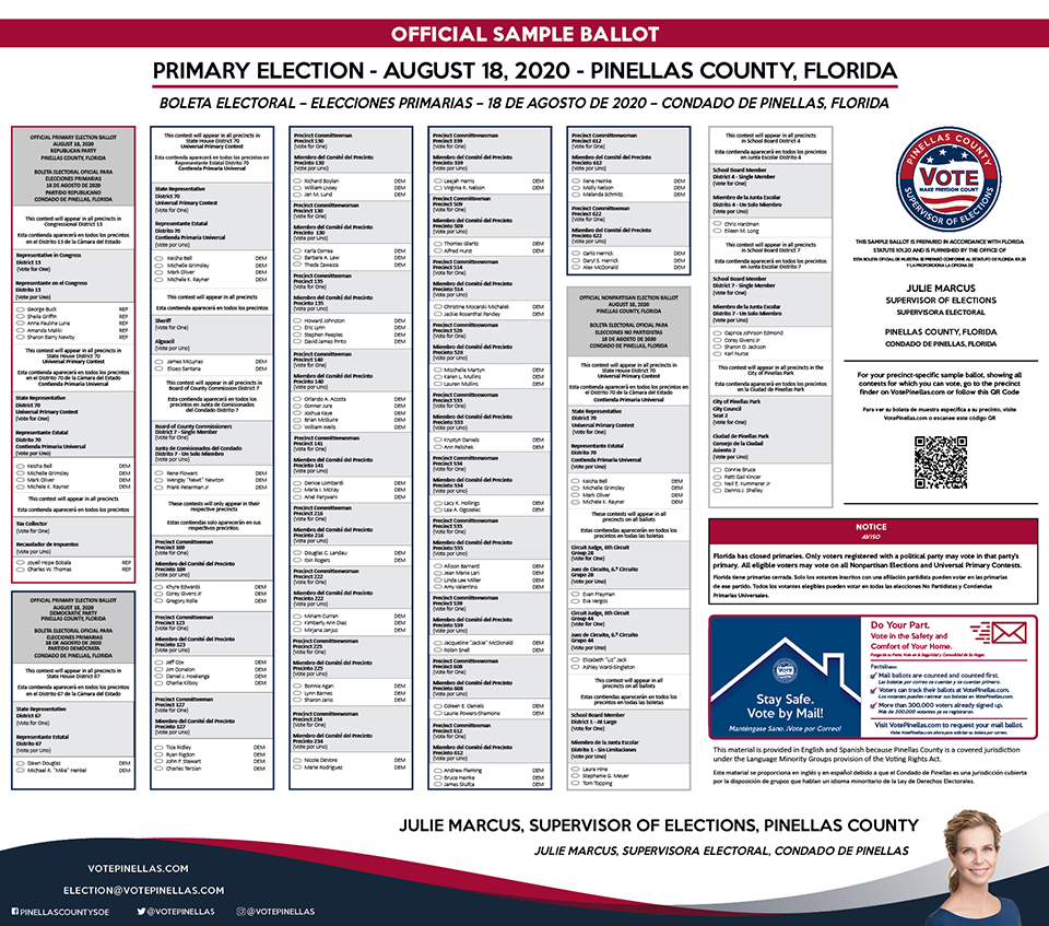Pinellas County Supervisor of Elections Official Sample Ballot Primary Election - August 18, 2020