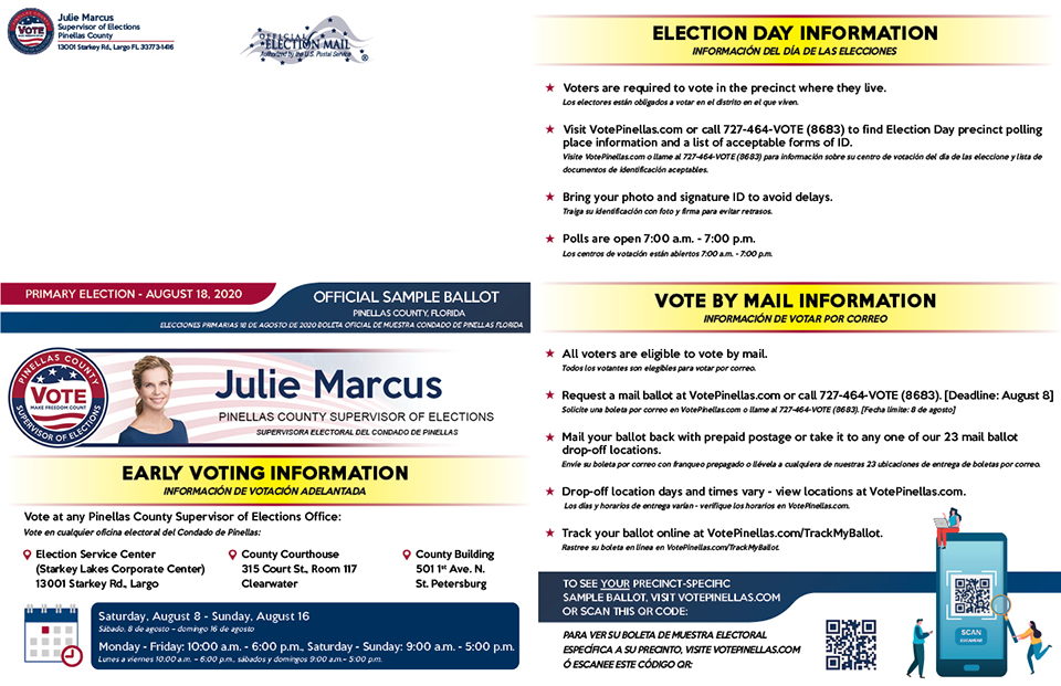 Pinellas County Supervisor of Elections - Official Sample Ballot Primary Election - August 18, 2020 Panel 1