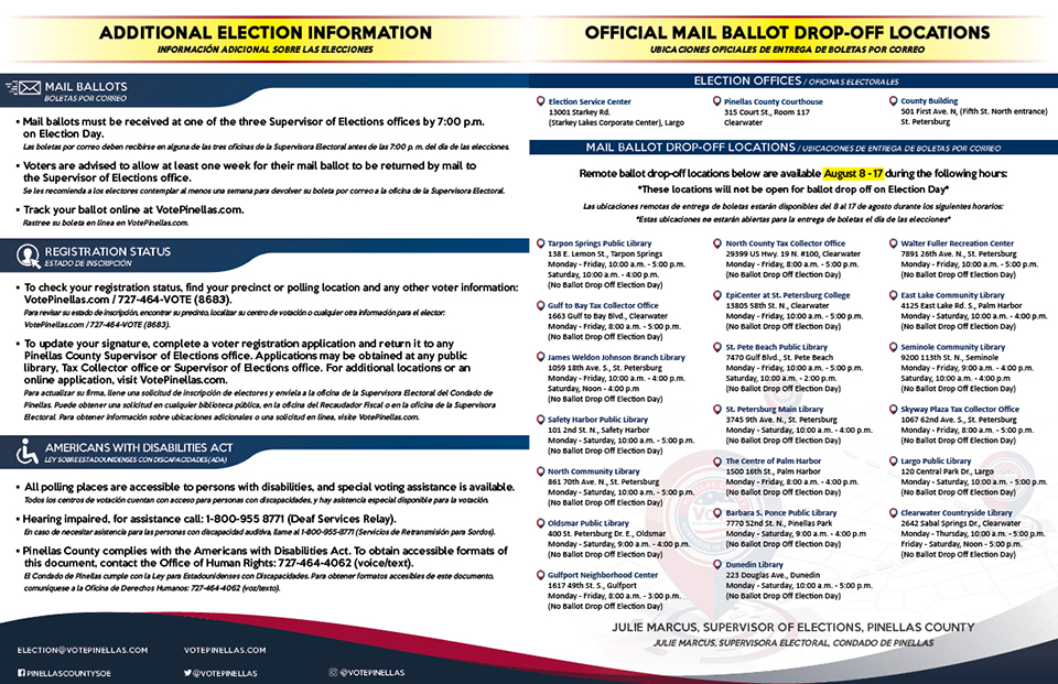 Pinellas County Supervisor of Elections - Official Sample Ballot Primary Election - August 18, 2020 Panel 2